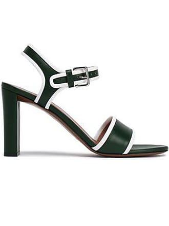 Marni Marni Woman Patent-trimmed Leather Sandals Dark Green Size 39.5
