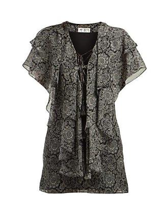 c08531243e35 Saint Laurent Paisley Print Ruffled Silk Georgette Mini Dress - Womens -  Black White