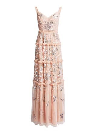 Needle & Thread Floral Gloss V-neck Sequin Maxi Dress Nude