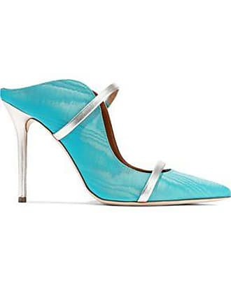 Malone Souliers Malone Souliers Woman Maureen Metallic Leather-trimmed Moire Mules Turquoise Size 37