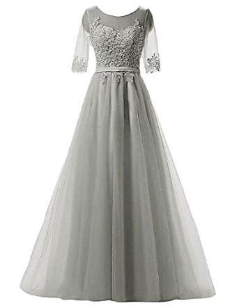 7f2a345cbfcc4d Clearbridal Damen Prinzessin Ballkleid Abschlusskleid lang Abendkleid  Langarm mit Spitze CAH004 Grau Gr.36