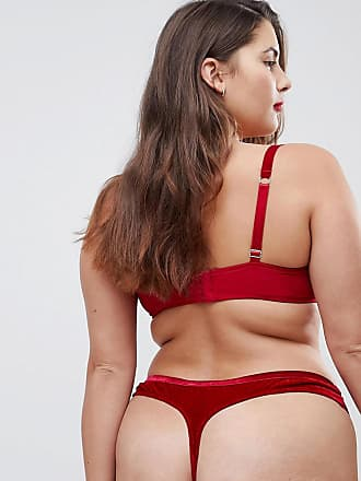 4fa00f440e Asos Curve Crystal Red Velvet Moulded Underwire Bra - Red