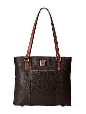 Dooney & Bourke Pebble Small Lexington Shopper (Chocolate w/ Tan Trim) Tote Handbags