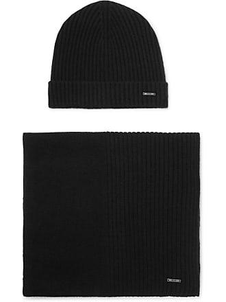 HUGO BOSS Ribbed Cashmere Beanie And Scarf Set - Black