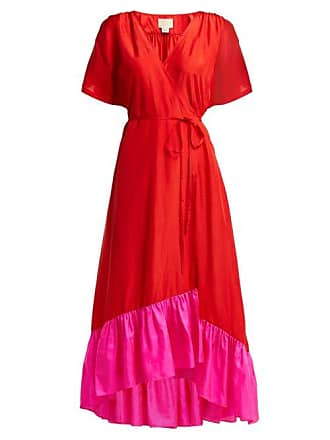 Anaak Akari Silk Satin Wrap Dress - Womens - Red Multi
