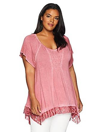 3885b10740cea4 Oneworld Womens Plus Size Short Sleeve Oil Wash Lace Trim Top