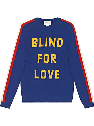 bc284679c16 Gucci Blind for Love and tiger wool sweater - Blue