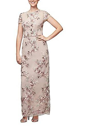 Alex Evenings Womens Long Cap Sleeve Embroidered Dress with Back Slit, Nude Multi, 6