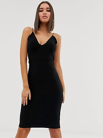 Club L open back midi dress with ruched back detail in black - Black