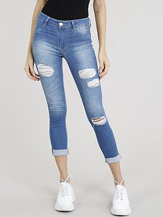 Sawary Calça Jeans Feminina Cropped Sawary Destroyed Azul Médio