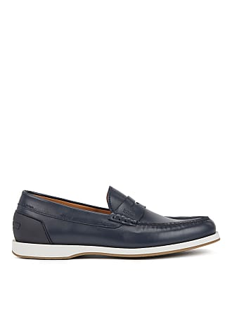 BOSS Portuguese-made moccasins in smooth leather with rubber sole