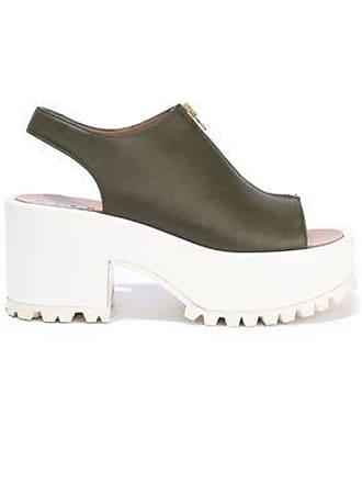 8947d6a2c Marni Marni Woman Leather Platform Slingback Sandals Army Green Size 40