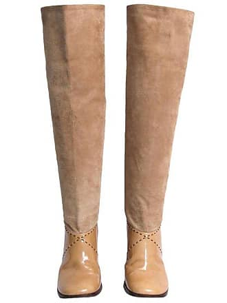 378a24c52a2 Chanel High Heels Boots In Beige Suede And Patent Leather Size 39.5fr