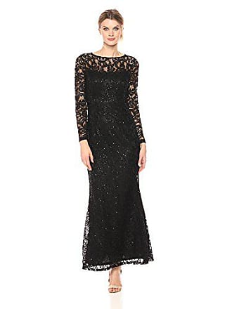 b5cea03d3c0 Marina Rossini Womens Long Sleeve Stretch Sequin Lace Gown, Black, 10