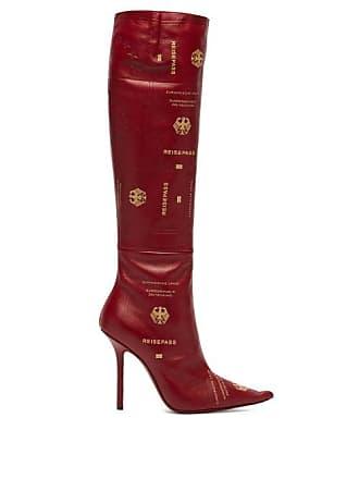 9061776e757a VETEMENTS Passport Print Leather Knee High Boots - Womens - Burgundy
