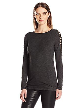Kensie Womens Drapey French Terry Sweatshirt, Heather Charcoal, XS
