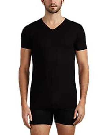 Zimmerli Mens 186 Piqué Combo V-Neck T-Shirt - Black Size M