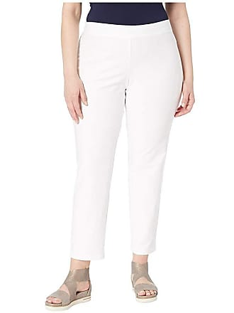 Eileen Fisher Plus Size Washable Stretch Crepe Slim Ankle Pants (White) Womens Casual Pants