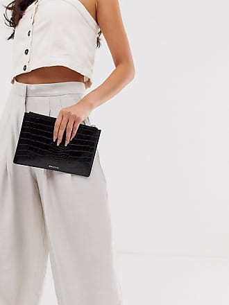 Whistles shiny croc leather small clutch in black
