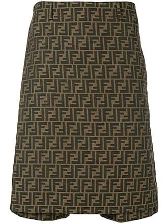 78d2f3cf8f79 Fendi FF motif print long-line skort - Brown
