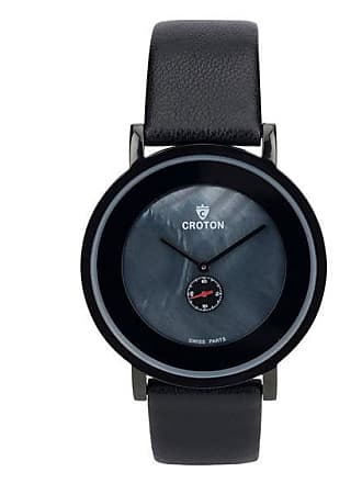 Zales Mens Croton Heritage Black Strap Watch with Black Mother-of-Pearl Dial (Model: Cn307576Bkmp)