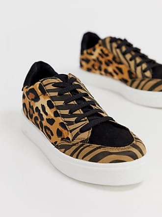 ef464d57d6916 Asos Dove lace up sneakers in leopard mix - Multi