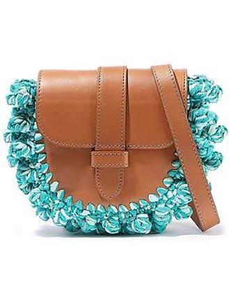 c7750c8c4bfad M Missoni M Missoni Woman Knotted Crochet-paneled Leather Shoulder Bag Jade  Size