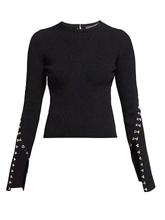 Alexander McQueen Alexander Mcqueen - Hook And Eye Trim Ribbed Sweater - Womens - Black