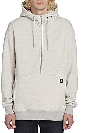 Volcom Mens Drastic Stone Half Zip Hooded Sweatshirt, Heather Grey Extra Large