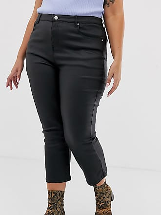 Urban Bliss coated crop kick flare jeans-Black