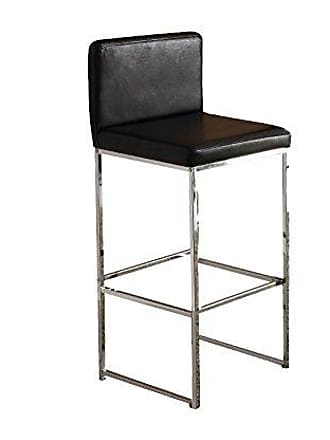 ACME 70962 Zak Bar Chair, Set of 2, Black PU/Chrome