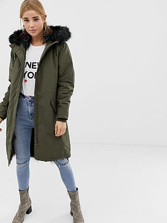 New Look multicoloured fur lined parka - Green