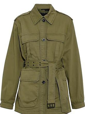 Mih Jeans M.i.h Jeans Woman Lang Belted Cotton-twill Jacket Army Green Size S