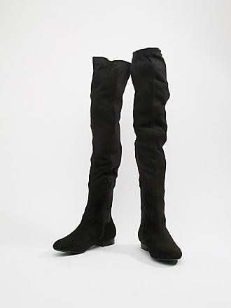 b7e76497db11 Asos Wide Fit Kelby Flat Elastic thigh high boots - Black