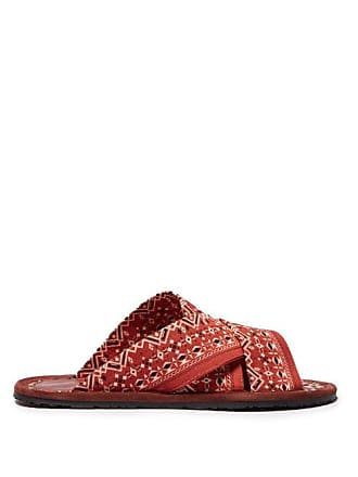 Etro Geometric Print Twill Sandals - Mens - Red