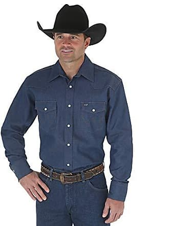 9e1902c7243 Wrangler Mens Authentic Cowboy Cut Work Western Long-Sleeve Firm Finish  Shirt