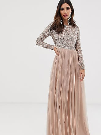 Maya Bridesmaid long sleeve maxi tulle dress with tonal delicate sequins in taupe blush - Brown