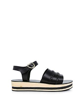 Ancient Greek Sandals AMPHIPOLIS Braided Platform Sandals Black