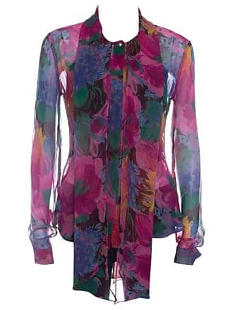 7bc4f88a9b7ab3 Dolce   Gabbana D g Multicolor Printed Silk Bow Neck Tie Detail Long Sleeve  Blouse M