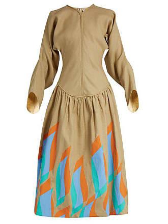 J.W.Anderson Jw Anderson - Swoosh Print Dropped Waist Linen Dress - Womens - Camel