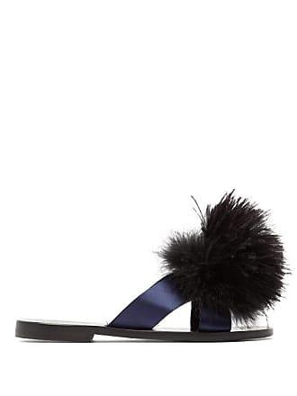 0de0729bd7f8 ÁLVARO GONZÁLEZ Antonia Feather Pompom Sandals - Womens - Black