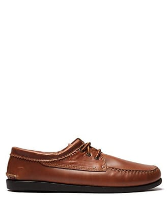 Quoddy Blucher Lace Up Leather Moccasins - Mens - Brown
