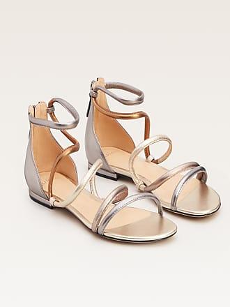 Alexandre Birman Gianny Flat Sandal - 35.5 Graphite Metallic Leather
