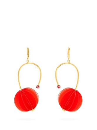 Marni Origami And Strass Pistil Earrings - Womens - Red