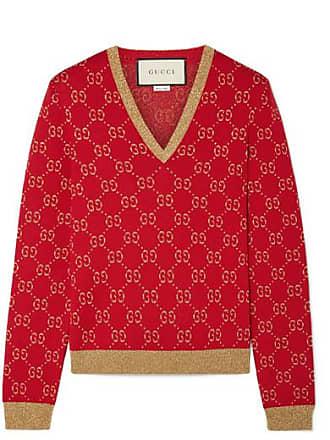 9b9f80036d0f Gucci Metallic Cotton-blend Jacquard Sweater - Red