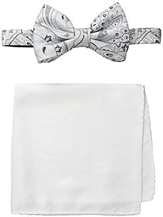 Steve Harvey Mens Paisley Woven Bowtie and Solid Pocket Square, White, One Size