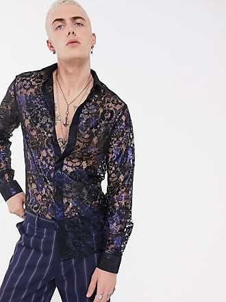 Twisted Tailor Camicia trasparente super skinny in pizzo a fiori blu