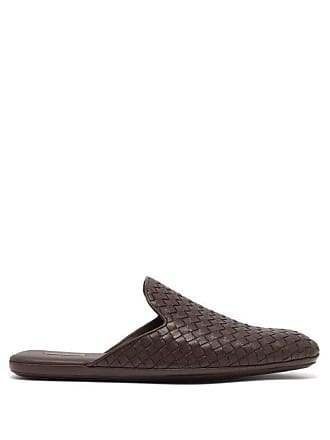 Bottega Veneta Intrecciato Backless Leather Slipper Shoes - Mens - Brown