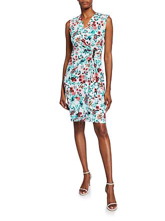 Iconic American Designer Floral Side-Bar Sheath Dress