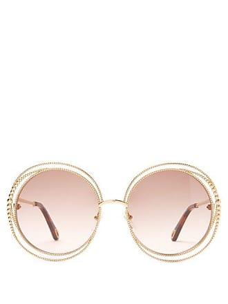 Chloé Carlina Round Metal Sunglasses - Womens - Light Brown